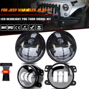 For Jeep Wrangler 7 Round Black Led Headlight Jk Fog Turn Signal Lamp Combo Kit