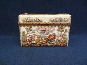 Meissen Porcelain Ormolu Mounted Capodimonte Style Box And Cover 19th Century