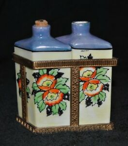 Antique Art Deco Ceramic Hand Painted Duel Perfume Bottles In Gold Casting Japan