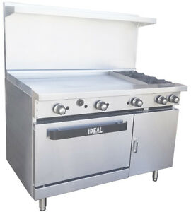 New Commercial 48 Range With 2 Burners 36 Griddle Made In Usa By Ideal