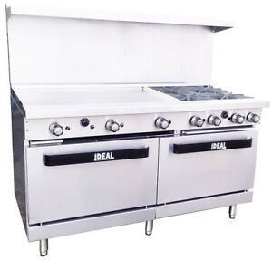 New Commercial 60 Range With 4 Burners 36 Griddle Made In Usa By Ideal