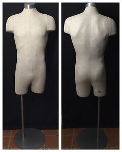Male Mannequin 3 4 Torso Body Dress Form Pinnable Linen Stand Jcpenny Display