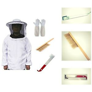 Beekeeping Suit Jacket Gloves Bee Hive Brush J Hook Hive Tool Set White Color