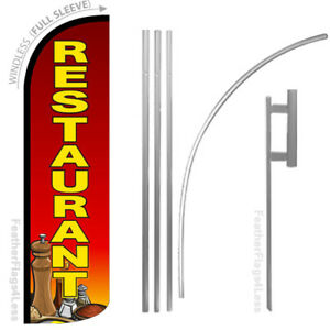 Restaurant Windless Swooper Feather Flag 15 Kit Sign Rq