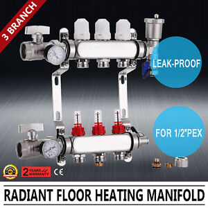 3 branch Pex Radiant Floor Heating Manifold Set Stainless Steel For 1 2 Pex