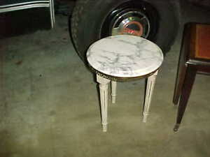 Mid Century French Provincial Italian Marble Top Round Plant Stand Side Table