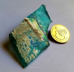 Genuine Ancient Roman Iridescent Glass Fragment From Israel Holy Land
