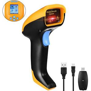 Wireless Usb Barcode Scanner Handheld Cordless Laser lcd Screen Rechargeable