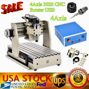 4 Axis 3020 Cnc Router Usb Engraver Drilling Milling Machine Wood Metal Vfd