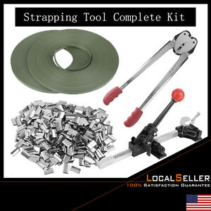 Strapping Tool Kit Poly 690feet Strap Ratchet Crimper Set 400pcs Steel Seals