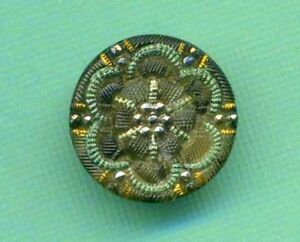 Antique Lacy Glass Button Three Different Lusters 9 16