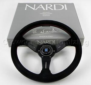 Nardi Steering Wheel Deep Dish Corn 330 Mm Black Suede Leather Classic Horn