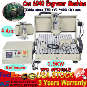 4 Axis 6040 1500w Spindle Cnc Router Engraver Engraving Milling Machine 110v Ac