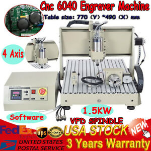 4 Axis 6040 1500w Cnc Router Engraver Engraving Mill Drill Vfd Spindle Machine