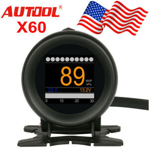 Autool X60 Obd Function 12v Car Digital Turbo Boost Speed Water temp Gauge Usa