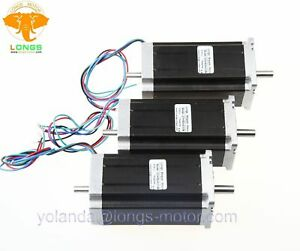Stepper Motor 3pcs Nema 23 Dual Shaft 425 Oz in 3a Cnc 23hs9430b Cnc Router