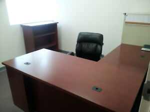 Executive Professional L shaped Office Desk And Book Case Lh By Steelcase