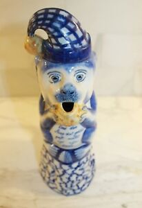 Antique Delft Monkey Milk Pitcher Made By Boch Keramis 19th Century Rare