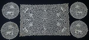 Antique Custom Point De Venise Lace Figural Elephants 8 Napkins 8 Placemats