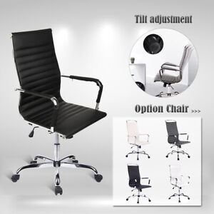 High Back Office Chair Pu Leather Ergonomic Swivel Adjustable Computer Desk Task