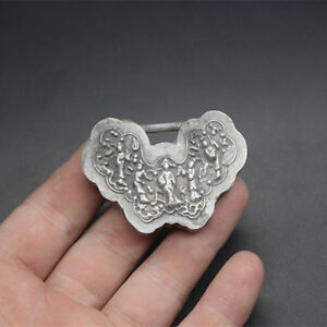 Old China Antique Collection Archaize Butterfly Shape Silver Lock Copper Pendant