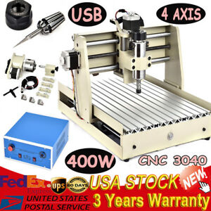 Usb Cnc 3040 4 Axis Router Engraver Milling Drilling Cutter Machine 400w Spindle