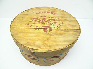 Large Round Reproduction Shaker Style Welcome Eagle Box Hatbox Wood Wooden Used