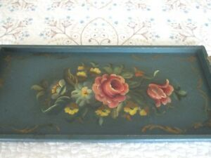 Shabby Hand Painted Antique Tole Flowers Teal Green Wood Display Serving Tray