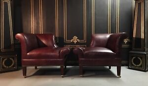 Art Deco Leather Chairs Pair