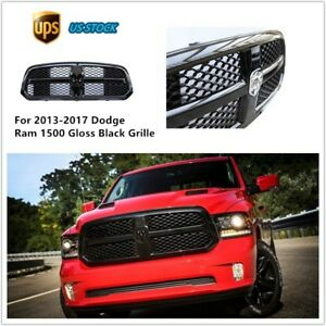 For 2013 2017 Dodge Ram 1500 Black Front Bumper Mesh Grill Grille With Logo