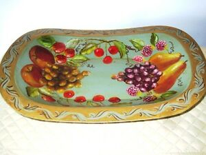 Hand Painted Grapes Apples Pears Cherries Vintage Green Metal Tole Fruit Tray
