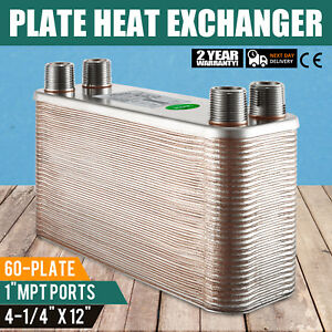60 Plate Brazed Plate Heat Exchanger Oil Cooling Outdoor Wood Boiler 4 1 4 x12