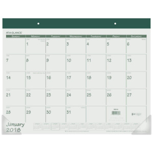 At a glance Monthly Desk Pad Calendar January 2018 December 22 X 17 Fashi