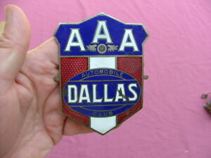 Vintage Aaa Auto Club Enamel License Plate Topper Badge Dallas Tx Nice