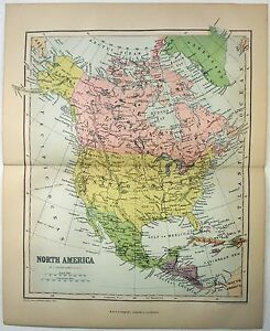 Original Map Of North America By W R Chambers 1868 Stone Chromo Lithograph
