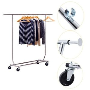 Single bar Heavy Duty Clothing Adjustable Salesman Rolling Garment Rack Hanger