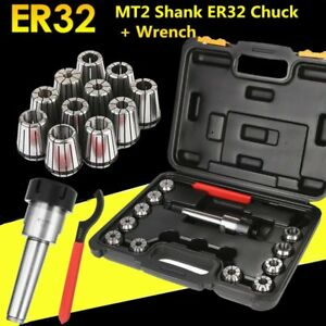 Precision Er32 Collet Set Mt3 Shank Chuck Spanner Box For Milling Machine Sk