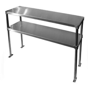 Stainless Steel Adjustable Double Overshelf For Work Table Top Mount 14 X 72