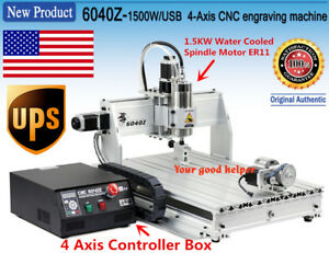 us Stock 4axis 6040 Usb Mach3 1500w Cnc Router Engraveing Milling Machine 110v