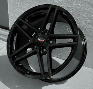 Gloss Black C6 Z06 Style Corvette Wheels For 2005 2013 C6 1997 2004 C5 18 19