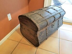 Unusual Shaped Antique Trunk From 1850 S With Beautiful Key Brass Decor