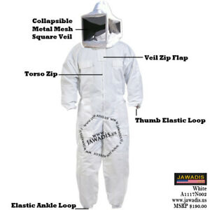 Adult 3xl White Beekeeping Beekeeper Bee Suit Metal Mesh Foldable Square Veil