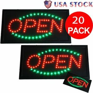 Lot 20 Bright Green red Led Open Store Business Sign Shop Flashing Neon Light Sk
