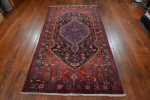 Vintage Persian Hamadan Design Rug 5 X8 Black Blue All Wool Pile