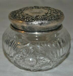 Victorian Cut Crystal Glass Powder Jar With 925 Sterling Silver Lid