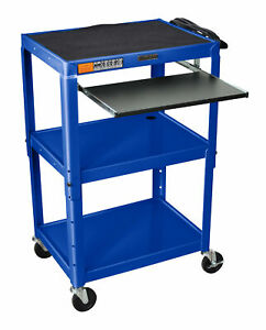 Luxor Compact Steel Mobile Computer Workstation Av Cart Royal Blue