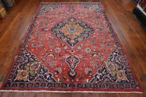 Vintage Persian Mashad Rug 6 X9 Red Blue All Wool Pile