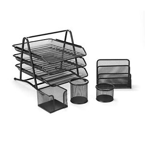 Mind Reader Metal Mesh 5 Piece Office Desk Organizer Set