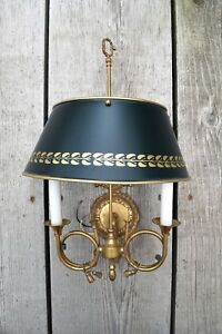 Decorative Two Candle Reproduction Wall Sconce With Teal And Gold Shade