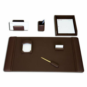 Dacasso 7 Piece Desk Set Chocolate Brown